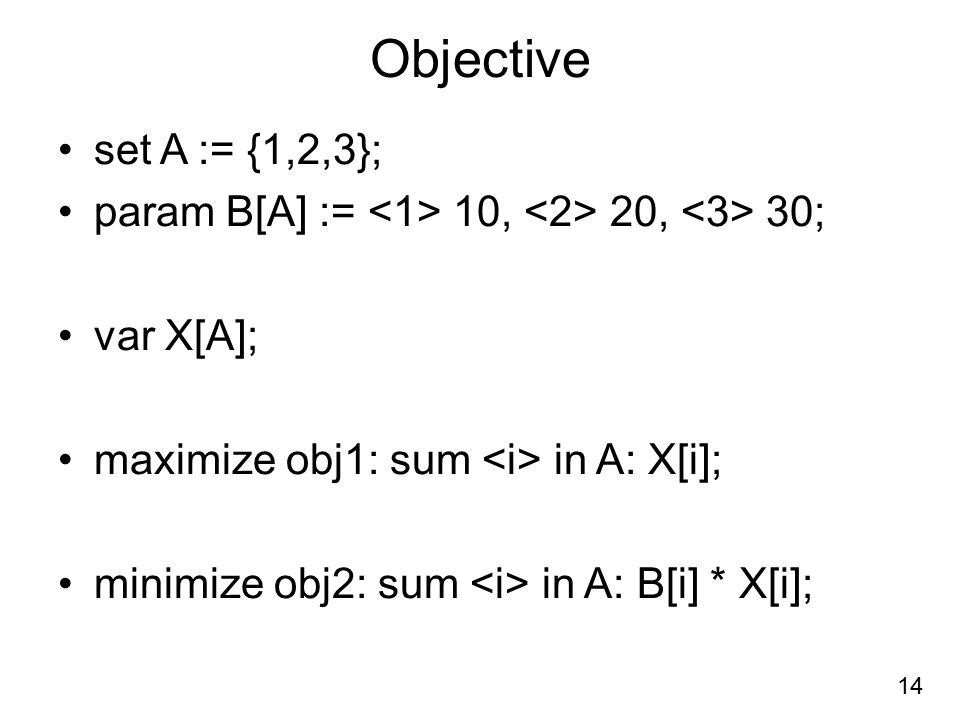 Objective set A := {1,2,3}; param B[A] := <1> 10, <2> 20, <3> 30; var X[A]; maximize obj1: sum <i> in A: X[i];